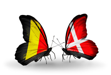 Two butterflies with flags Belgium and Denmark