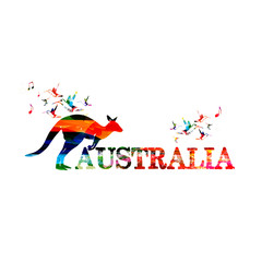 Colorful Australia inscription with kangaroo