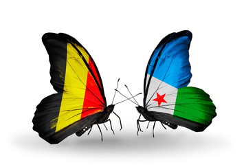 Two butterflies with flags Belgium and Djibouti