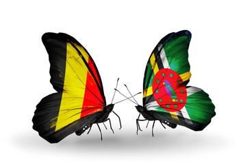 Two butterflies with flags Belgium and Dominica