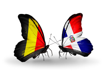 Two butterflies with flags Belgium and Dominicana