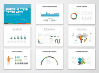 Presentation slide templates and business vector brochures