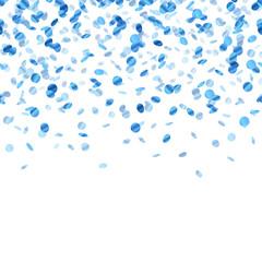 Blue confetti background. Seamless horizontal.