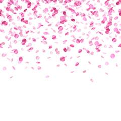 Pink confetti background. Seamless horizontal.