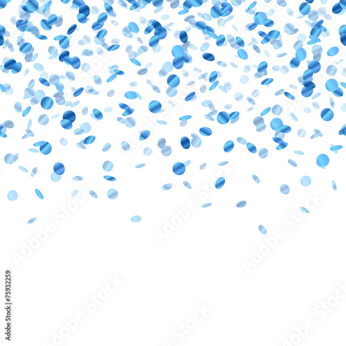 Blue confetti background. Seamless horizontal. - 75932259