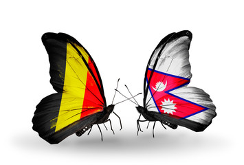 Two butterflies with flags Belgium and Nepal