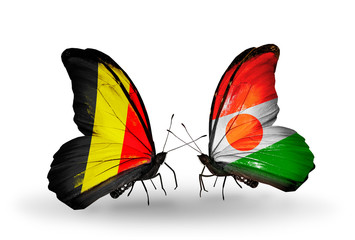 Two butterflies with flags Belgium and Niger