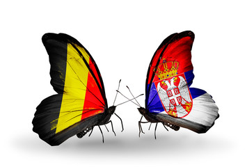 Two butterflies with flags Belgium and Serbia
