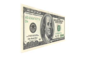 One Hundred American Dollar Bill Rotating