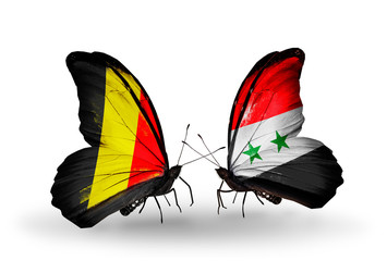 Two butterflies with flags Belgium and Syria