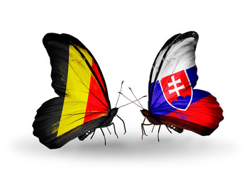 Two butterflies with flags Belgium and Slovakia