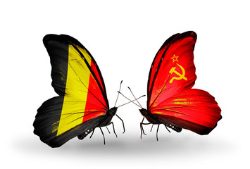 Two butterflies with flags Belgium and Soviet Union