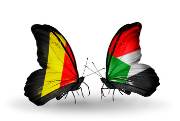 Two butterflies with flags Belgium and Sudan
