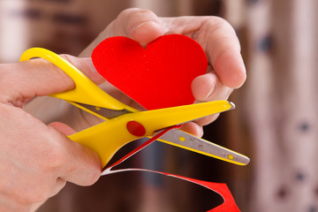 process of cutting heart for Valentine's day