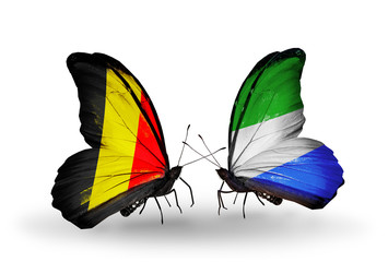 Two butterflies with flags Belgium and Sierra Leone