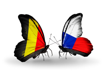Two butterflies with flags Belgium and Czech
