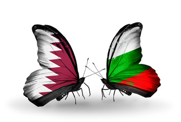 Two butterflies with flags Qatar and Bulgaria