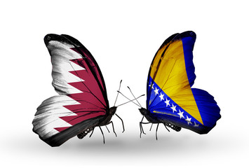 Two butterflies with flags Qatar and Bosnia and Herzegovina