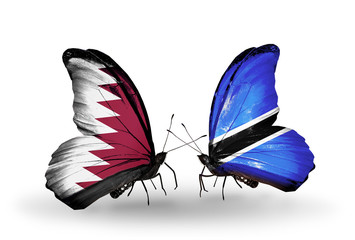 Two butterflies with flags Qatar and Botswana