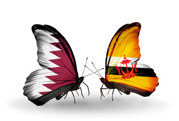 Two butterflies with flags Qatar and Brunei