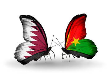 Two butterflies with flags Qatar and Burkina Faso