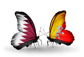 Two butterflies with flags Qatar and Bhutan
