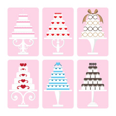 Vector set of wedding cake on isolated background