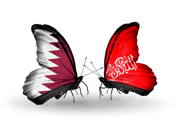 Two butterflies with flags Qatar and Waziristan