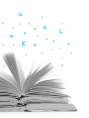 blue letters flying out of a book