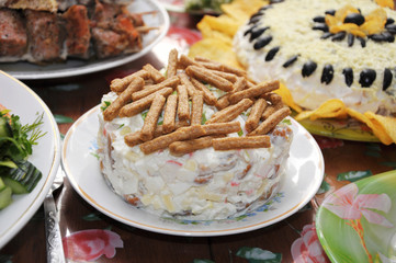 festive dish with mayonnaise and crackers