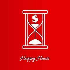 happy hour background with sandglass