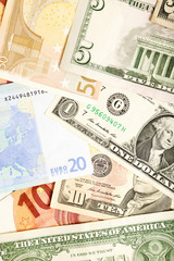 Dollar and Euro Currency Background