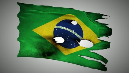 Brazil perforated, burned, grunge waving flag loop alpha