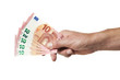 Hand hält fünf zehn euro scheine isoliert
