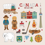 Vector Canada Doodle Art for Travel and Tourism poster