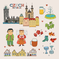 Vector Czech Republic Doodle Art for Travel and Tourism