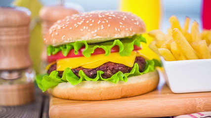 Tasty and appetizing hamburger cheeseburger
