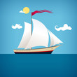 Sailing vessel in the  blue ocean, vector illustration - 75935871
