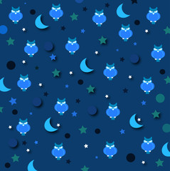 night print with stars owl  and moon on blue texture
