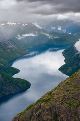 The summer view of Trolltunga in Odda, Norway