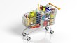 Leinwandbild Motiv Full with products supermarket shopping cart