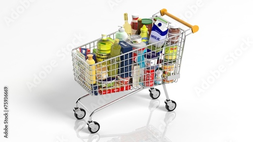 Poster Boodschappen Full with products supermarket shopping cart