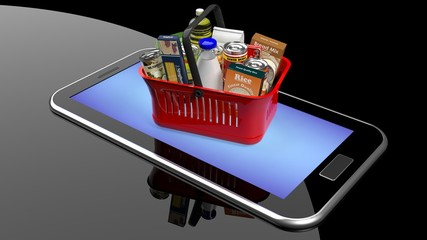 Shopping hand basket full with products on smartphone/tablet