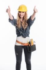 Weiblicher Handwerker mit Werkzeug