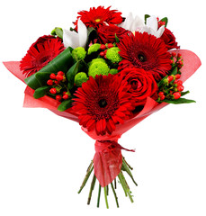 Bouquet of flowers in red package