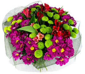 Bouquet of flowers in green package