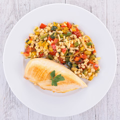 chicken breast and barley grain