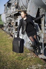 Woman is ready to jump off train