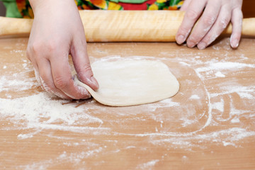female hand holding a circle of dough