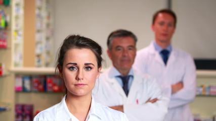 Pharmacy team looking at camera